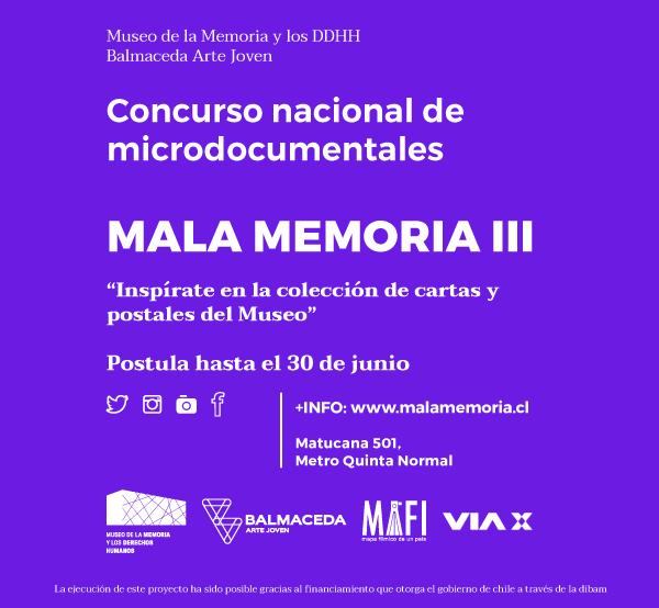 Abierta postulaciones al concurso nacional de microdocumentales Mala Memoria III